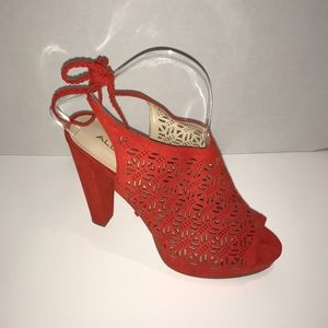 Aldo Perforated Sling Back Suede High Heel Shoes